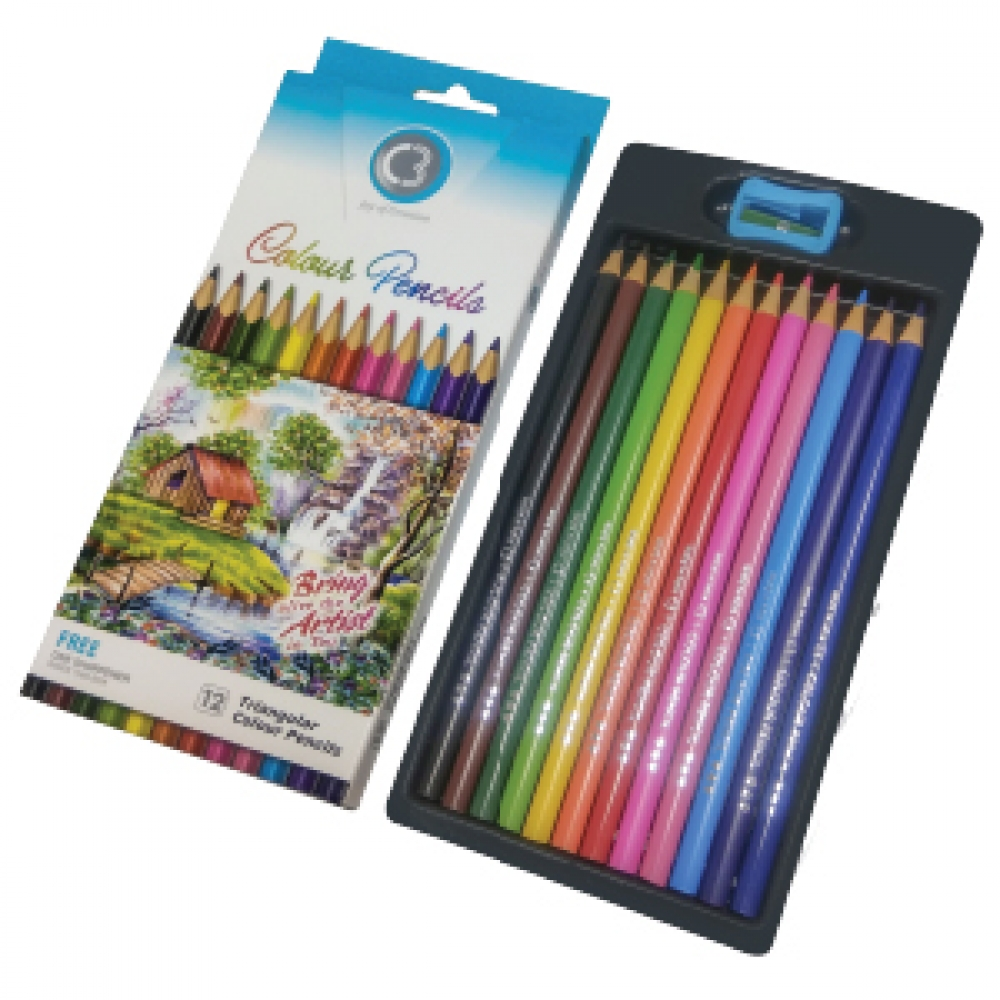 C3  SHADES FSC TRIANGULAR COLOUR PENCILS 12 7901